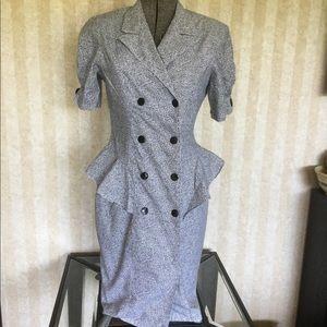 Vintage 90s Isadora Peplum Waist Dress
